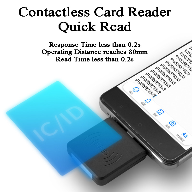 Android Mini RFID Reader Mobile Phone Contactless Reader USB Port EM4100/TK4100/14443A/NTAG203/213 125KHz/13.56MHz IC ID Reader