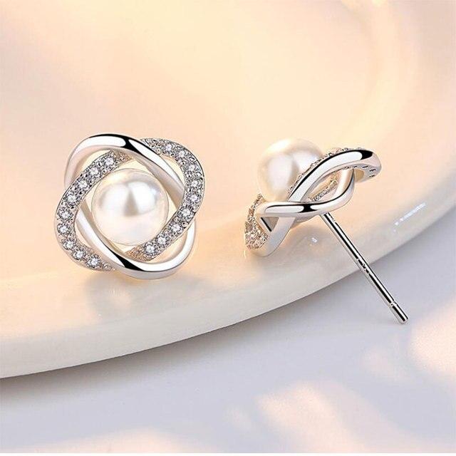 925 Sterling Silver Zircon-Pearl Twist Luxury Stud Earrings  5