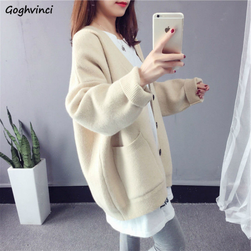Women Cardigans Sweaters Autumn Pockets Solid Thick Loose Winter Korean Style Knit Students Womens Simple Warm Chic Elegant New