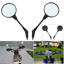 1Pair Motorcycle Side Mirrors 10mm Folding Rear View For Harley Suzuki Yamaha ATV BMW Round Left Right Rearview Black