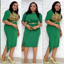 o-Neck Belted Women Office Dress Green Church Half Sleeve Su