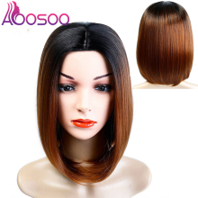 Short Bob Lace Front Synthetic Hair Wigs Ombre Black Green Red Color Yaki Straig