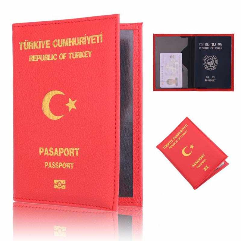 PU lederen Turkije Paspoort Covers voor Vrouwen Leuke Paspoorthouder Reisportefeuille Card Paspoorthouder Document Organizer