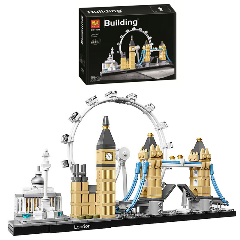 WIth Box 10678 Architecture Building Set London 21034 Legoinglys Big Ben Tower Bridge Model Building Block Bricks Toys