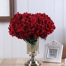 5 головок свадебные искусственные шелковые цветки гортензии со стеблем для дома вечерние магазин Baby Shower Декор не настоящие вечерние украшения комнаты