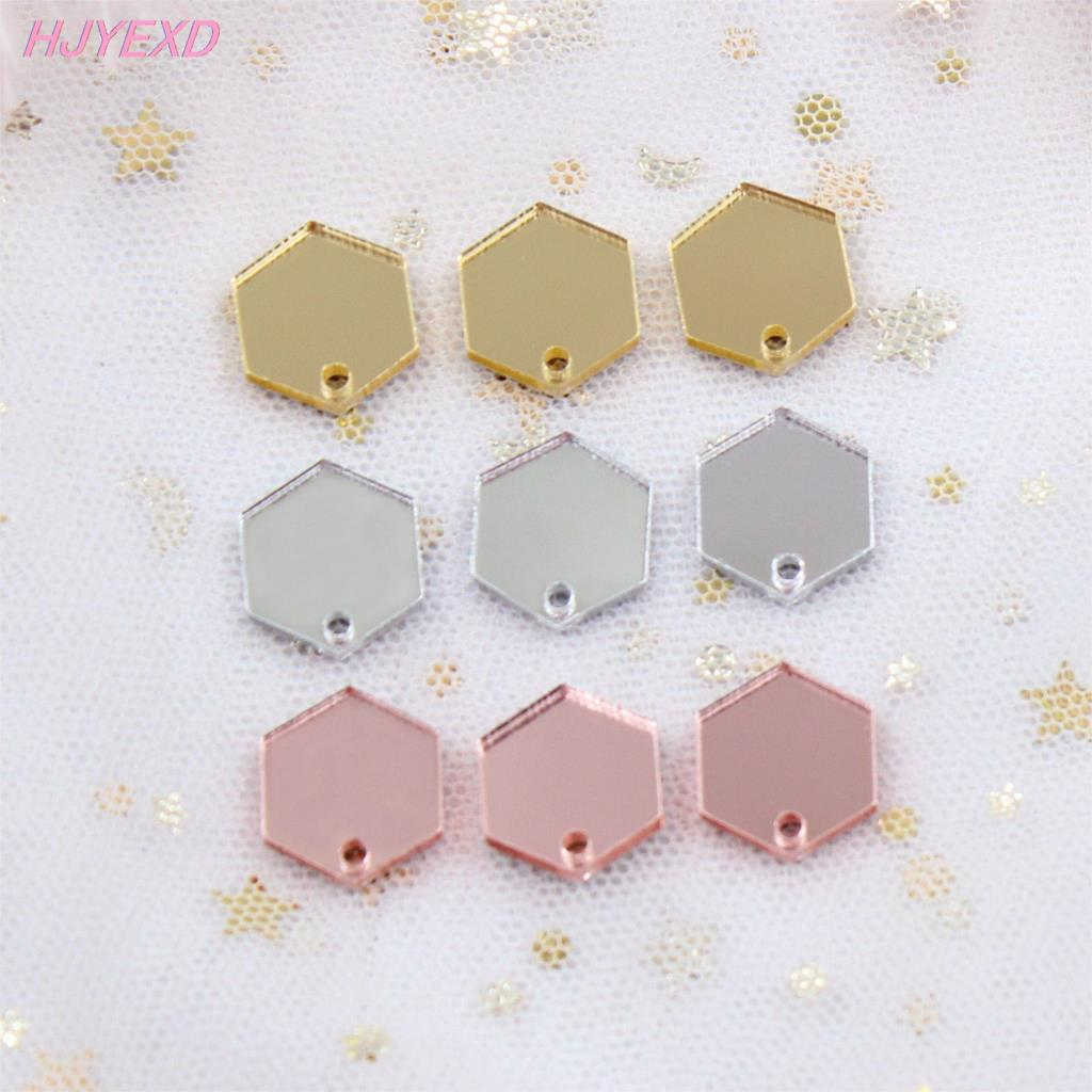12mm/14mm/ 16mm Acrylic Hexagon For Earring Mini Heart With Hole  Rose Gold Mirror Laser Cut-AC1314