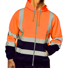 Mans Hoodies Thin Safety Work clothes Men Patchwork Reflective Stripe Hooded Top Zipper Hoodies Long Sleeve Men clothing Coat