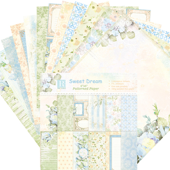6 Inch 24 Sheets Flower Border Patterned Paper Scrapbooking Craft Paper Mixed Colors 1