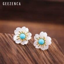 925 Sterling Silver Gold Plated Gemstone Flower Stud Earring Turquoise Lapis Lazuli Red Agate Shell Plum Blossom Earrings Women