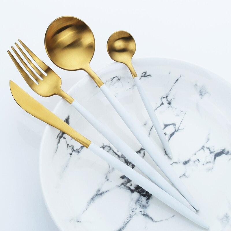 ステンレス鋼カトラリーナイフセットホワイトゴールデン食器セットディナー食器キッチンアクセサリー西洋カトラリー -