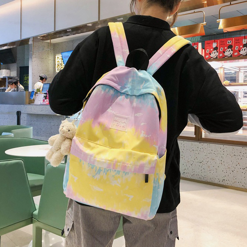 Tie-dye Printed Teenager School Bags Harajuku Women Backpacks Fashion Casual Female Canvas Backpack Bags Outdoor Travel Bags