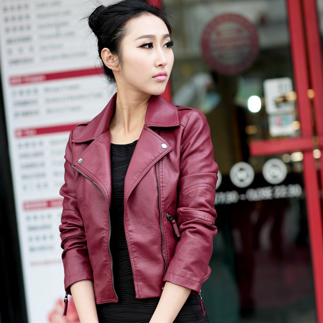 2019 Motorcycle PU   Leather   Jacket For Women Spring Autumn Fashion Long Sleeve Turn Down Collar Zipper Outwear Jacket Ladies Coat