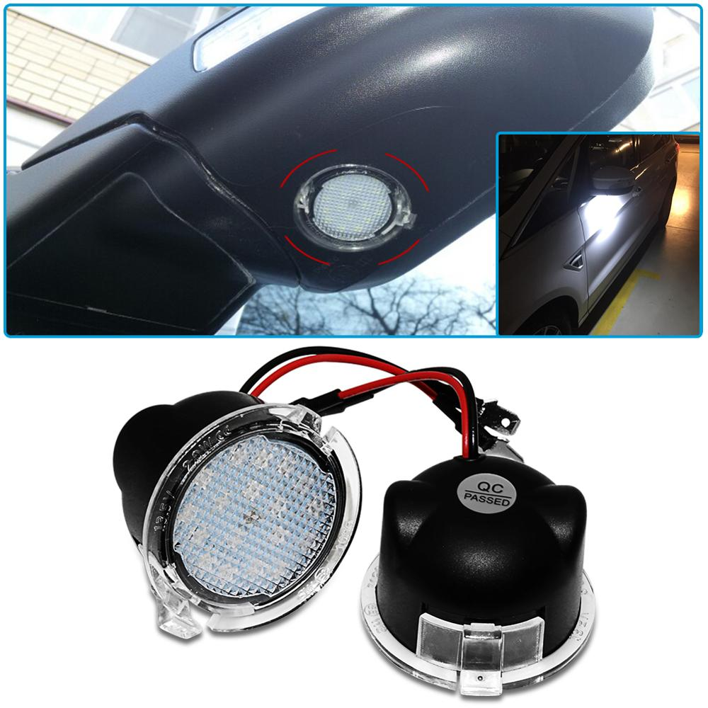 2Pcs LED Under Side <font><b>Mirror</b></font> Puddle Light <font><b>for</b></font> <font><b>Ford</b></font> Edge Fusion Flex <font><b>Explorer</b></font> Mondeo Taurus F-150 Expedition Car <font><b>Accessories</b></font> image