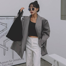 LANMREM 2020 vintage fashion new Loose Gray Oversize grey Suit spring casual high quality Loose