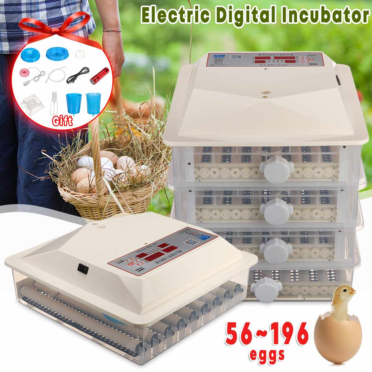 Newest 56/98/150/196 Automatic Egg Incubator Farm Hatchery Machine LCD Digital for Farm Chicken Quail Brooder Egg Incubator
