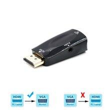 HDMI uyumlu VGA dönüştürücü ile ses kablosu erkek kadın için PC dizüstü Tablet desteği 1080P HDTV adaptörü
