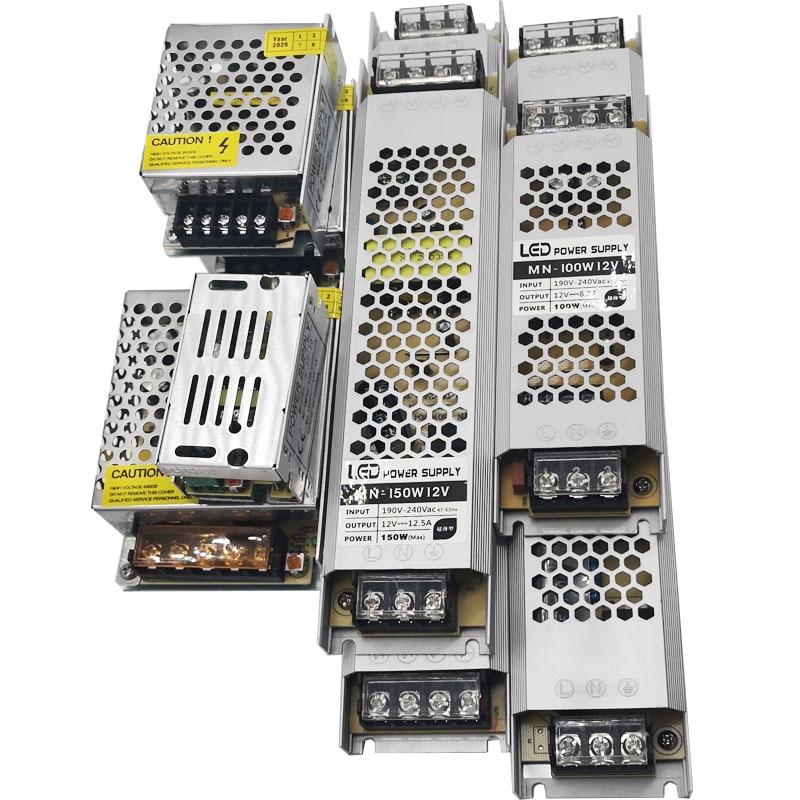 Ultra Dünne LED Netzteil DC 12V 24V Beleuchtung Transformatoren 60W 120W 180W 240W 360W AC190-240V Fahrer Für LED Streifen