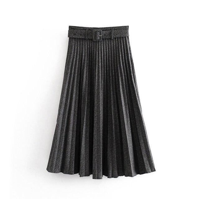 New Women fashion belt solid color pleated midi skirt faldas mujer ladies side zipper vestidos retro casual slim skirts QUN481 3