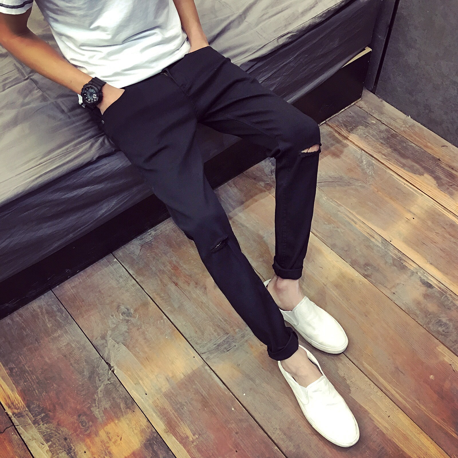 Jeans Men's Skinny With Holes Korean-style Slim Fit Capri MEN'S Casual Pants Trend Big Brand 2016 Spring New Style