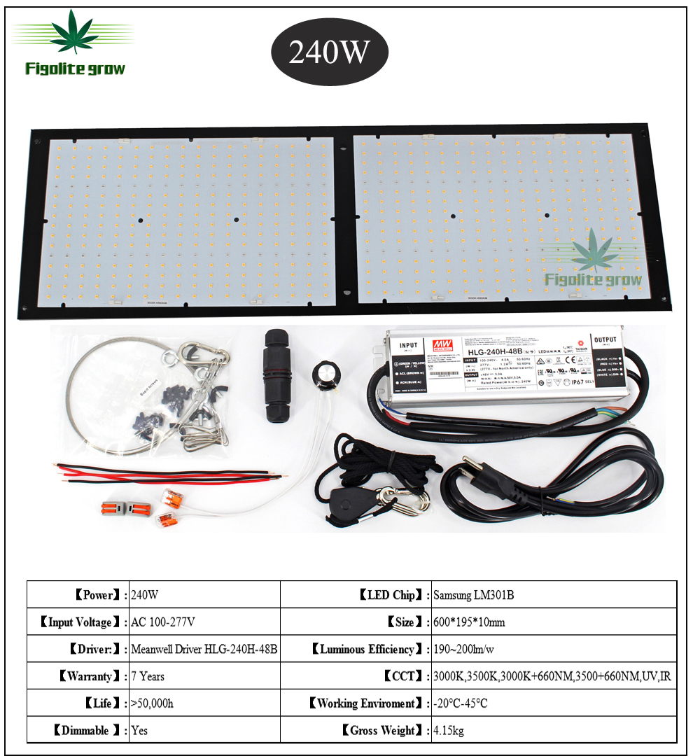 Figolite Grow 120w 240w Quantum Samsung Board V2 Dimmable Led Grow Light QB288 LM301B Mix 660nm IR And UV Meanwell HLG-240H-48B
