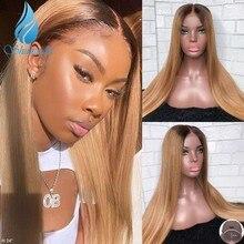 Smd ombre loira 13*4 frente do laço perucas de cabelo humano barato brasileiro remy cabelo longo em linha reta glueless peruca cabelo do bebê para as mulheres