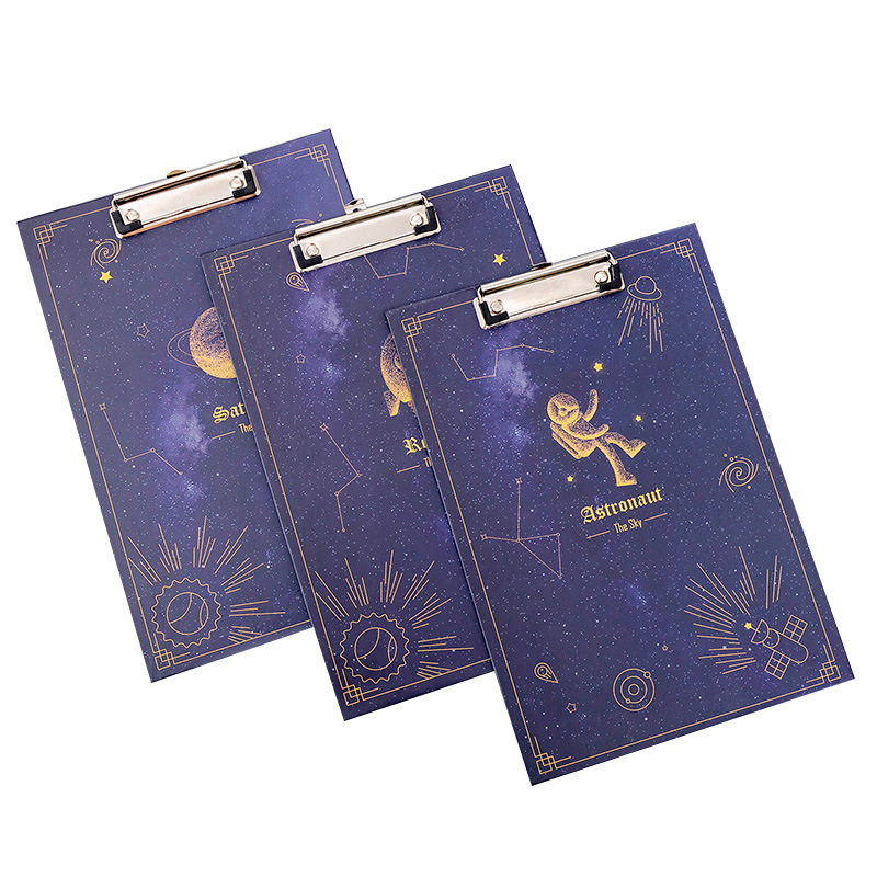 Creative Fantasy Starry Sky A4 File Board Folder Test Paper Folder Student Pad Board Writing Board Folder