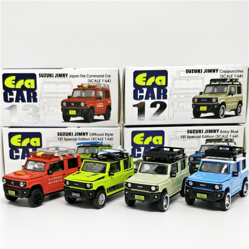 1:64 ERA CAR Suzuki Jimny Box#12 Baby Blue Cappuccino Box#13 Japan Fire Command Off Road With Roof Rack Diecast Model Car
