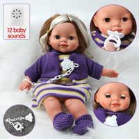 Muñeca realista de bebé reborn de 40,5 cm, 16 pulgadas, pelo largo de bebé, ropa de sonido de simulación de silicona, cadena de chupete, conjunto para juguetes para niños