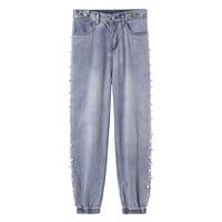 oversize high waist jeans elastic loose korean Beading JEANS women boyfriend pants women plus size oversized jeans trousers 2019