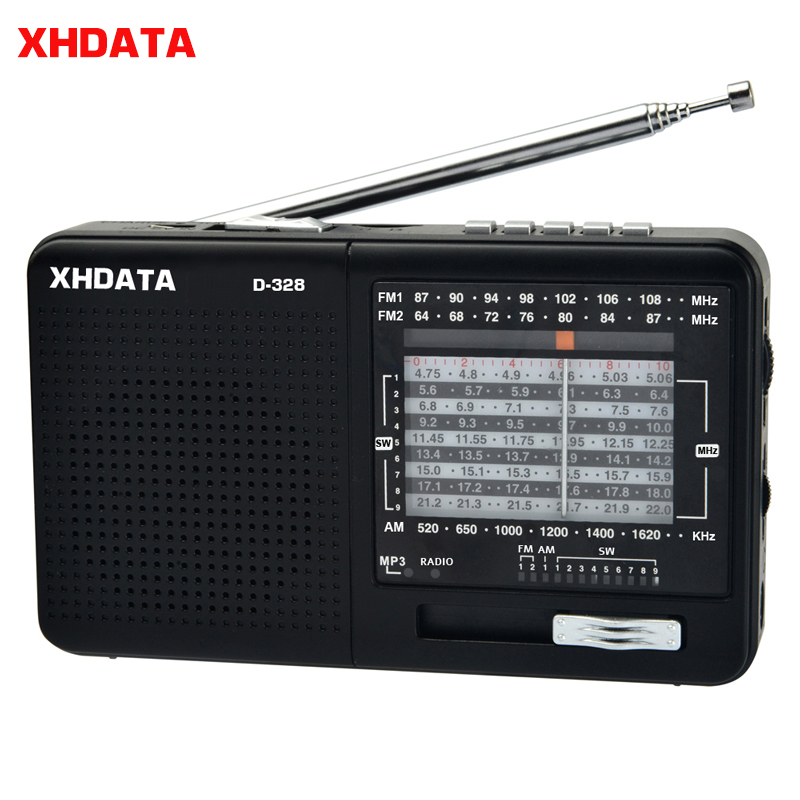 XHDATA D 328 Black Portable Radio AM FM SW 12 Bands with DSP/MP3 Music Player and TF Card Slot Packed with Rechargeable Battery|Radio| - AliExpress