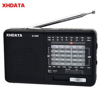 XHDATA D-328 Black Portable Radio AM FM SW 12 Bands with DSP/MP3 Music Player and TF Card Slot Packed with Rechargeable Battery