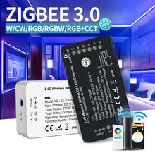 Zigbee 3.0 smart pro com cw/rgb/rgbw/rgb cct conduziu o trabalho branco quente do dimmer da luz branca fria do controlador da tira com alexa eco mais