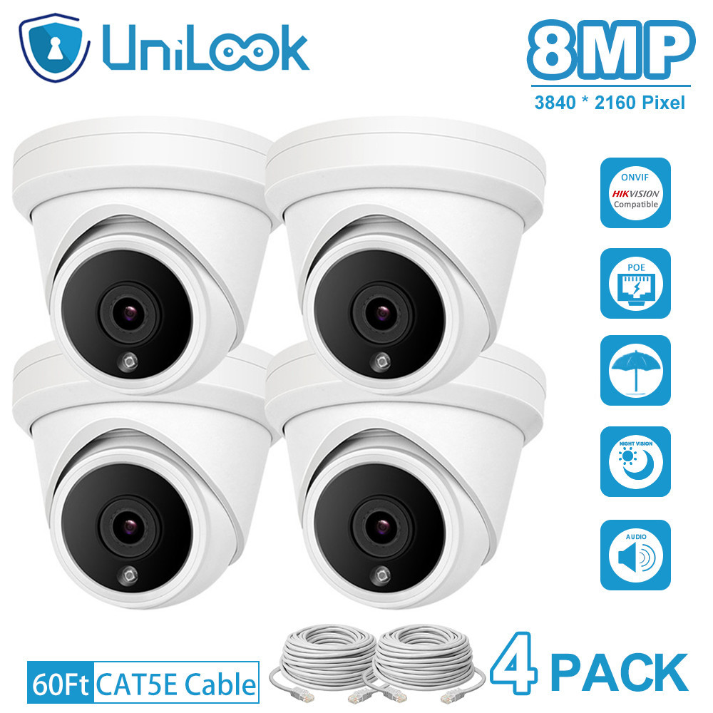 UniLook 8MP 4K Turret POE IP Camera Built in Microphone CCTV Security Camera Outdoor Hikvision Compatible ONVIF IP66 H.265