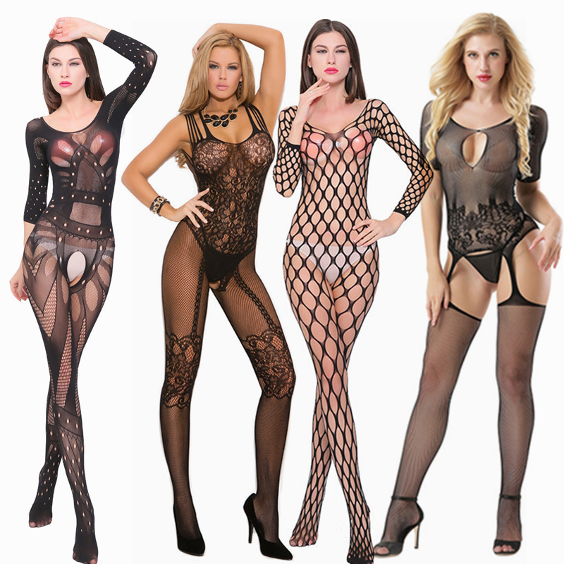 Erotic Lingerie For Women For Sex Open Crotch Fishnet Underwear Temptation See Through Babydoll Dress Sexy Mesh Bodystocking