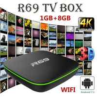 R69 Smart Android 7.1 TV Box 1G 8G Allwinner H3 Quad-Core WiFi 2.4GHz Set Top Box 1080P HDMI 1.4 Support 3D movie Media player