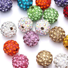10Pcs Pave CZ Disco Ball Beads for Jewelry Making Rhinestone Crystal Spacer Beads Bracelet Accessories Kristall Strass Perlen(China)