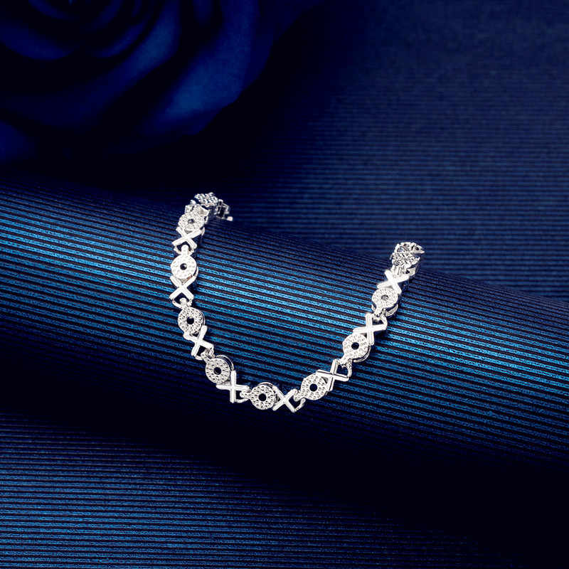 DAIWUJAN บุคลิกภาพ 925 เงินสเตอร์ลิง Simple XO Letter Charm กำไลและกำไลสำหรับผู้หญิงเครื่องประดับงานแต่งงานของขวัญ