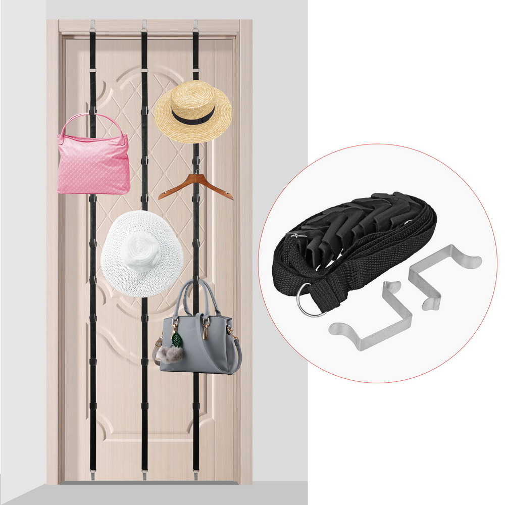 Hat Bag Organizer Adjustable Over Door Straps Hanger Hook With 8 Hooks Towel Coat Storage Holder Cap Rack Home Accessories