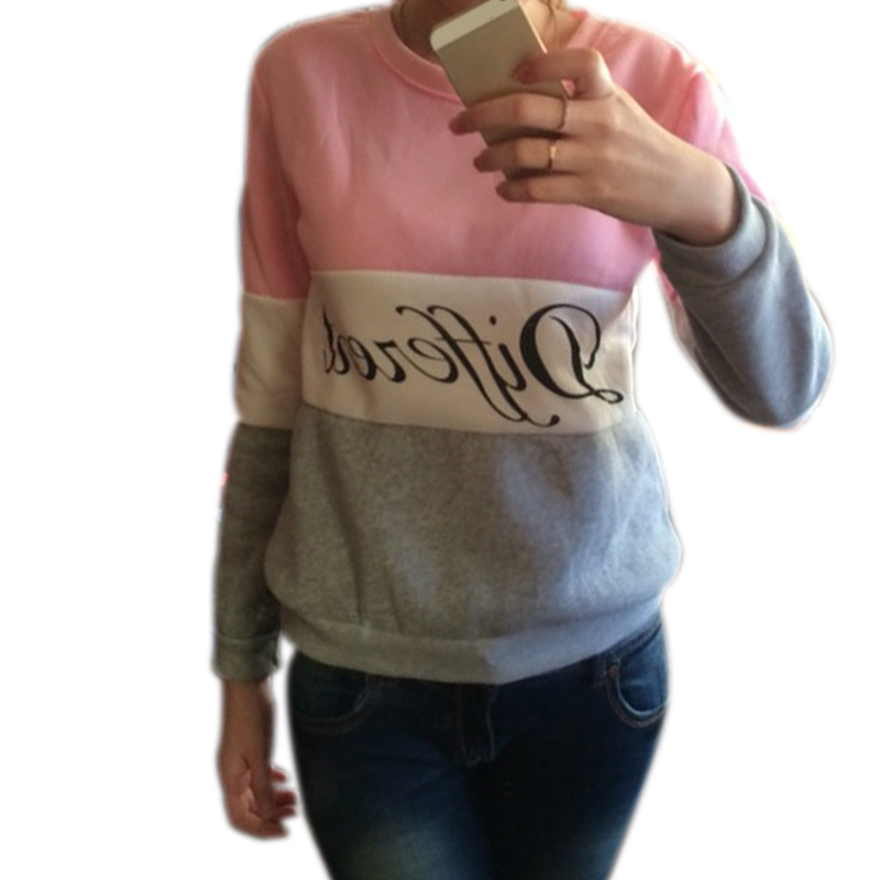 Autumn Spring Women Hoodies Patchwork Sweatshirt Fleece Tracksuits Long Sleeve O-neck Pullover Tops KNG88