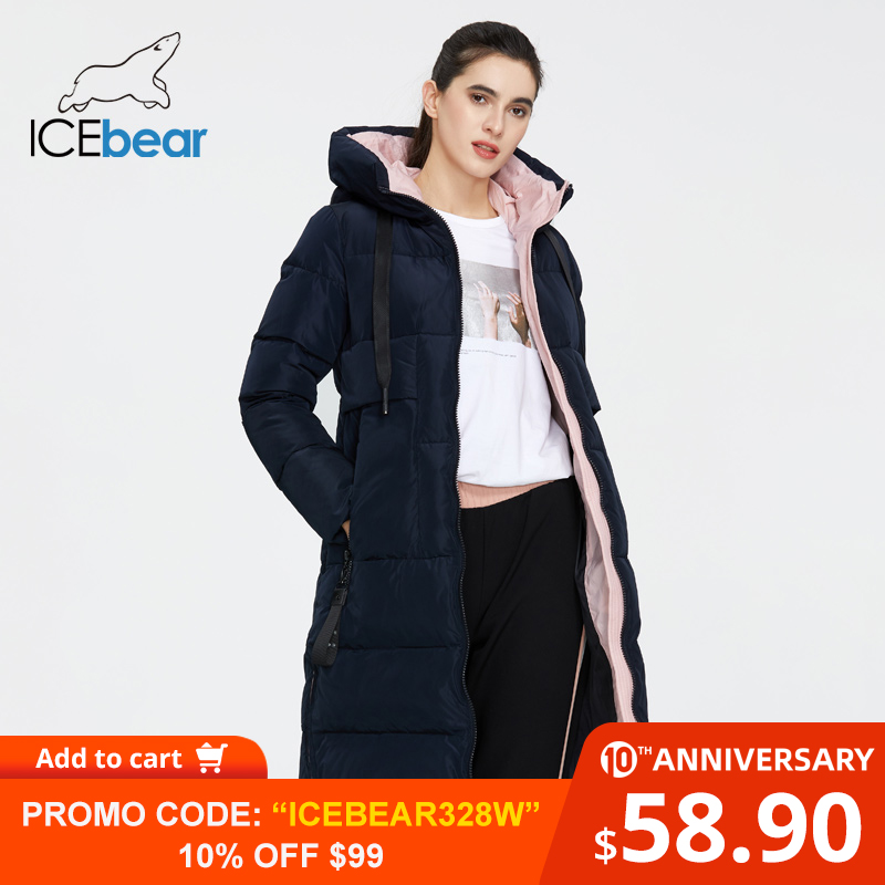 ICEbear 2019 New Winter Women Jacket High Quality Long Woman Coat Hooded Female Parkas Stylish Women's Brand Clothing GWD19507I
