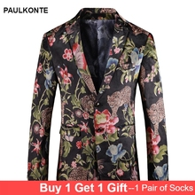PAULKONTE 2019 New Flower Print Jacket For Men Suit Top Fashion High Quality Nightclub Wedding Mostly Male Blazer ManS