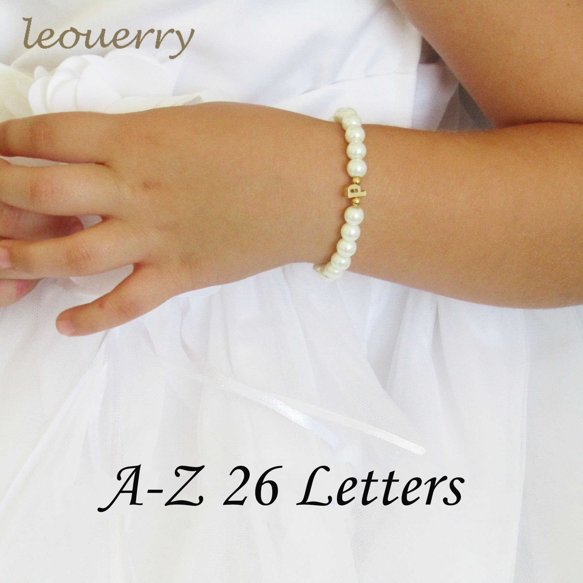 Leouerry 26 Gold Initial Flower Girl Imitation Glass Pearl Bracelet Children Girls Wedding Jewelry Kids Pearl Beads Bracelet