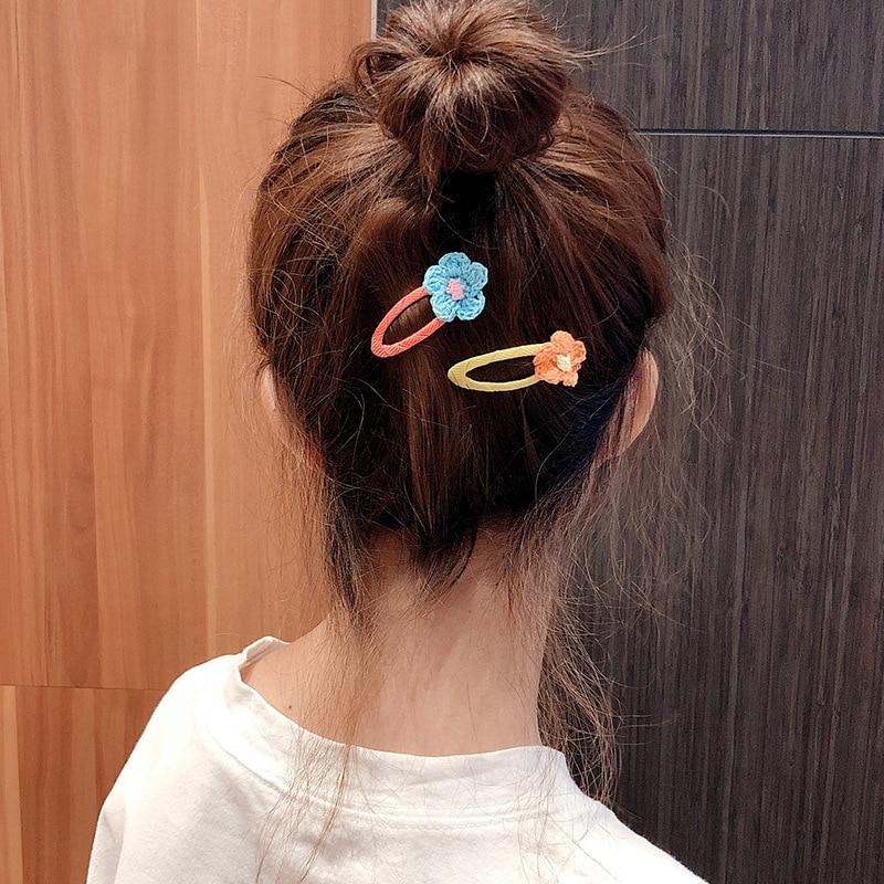 Hot style new popular children's fun color wool flower BB hairpin children three pieces set five pieces set hairpin headdress