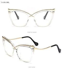 Image 3 - MINCL Womens Fashion Designer Cat glasses Frames with Metal Reading Glasses Women Anti fatigue Eyewear NX