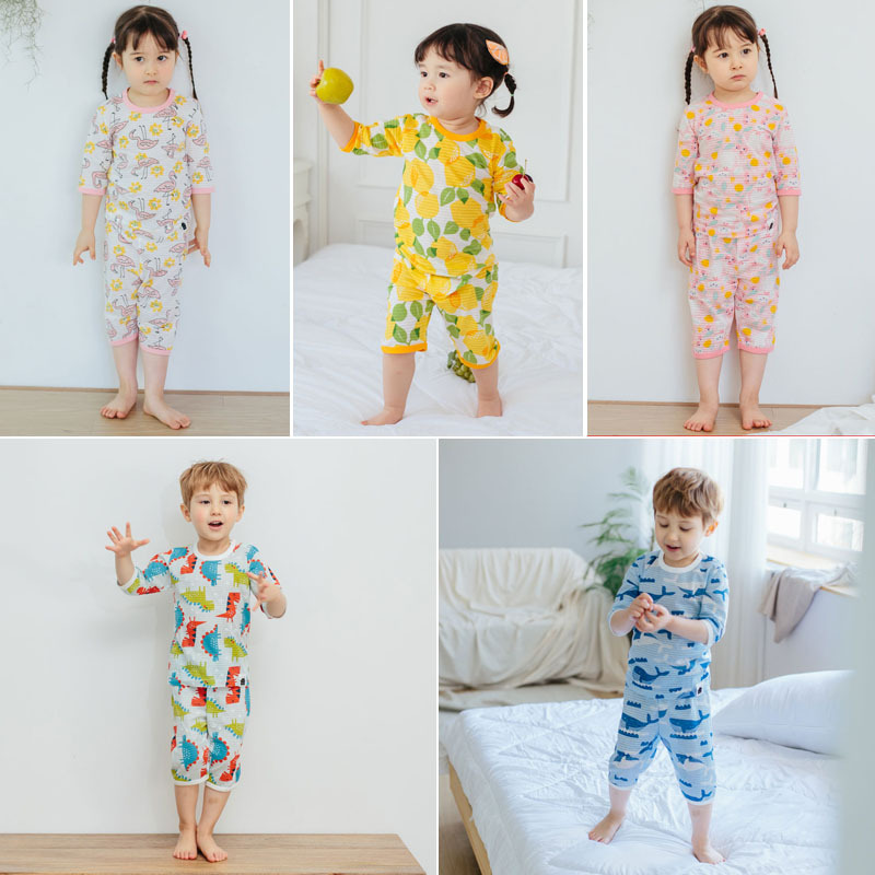 Imported From South Korea Men And Women Children Vovo2019 Spring And Summer New Style Slub Cotton 7 Points Tracksuit Pajamas Sui