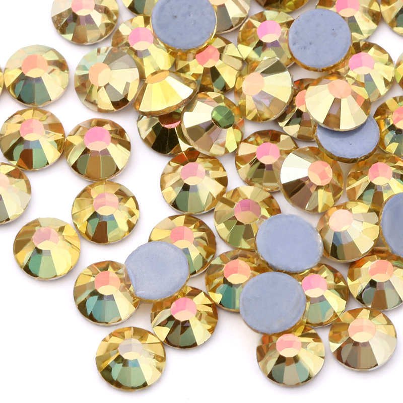 Metal Sunlight Hotfix Rhinestones For Clothes Flatback Crystal Hot Fix Stones Strass Glitters For Fabric DIY Decoration