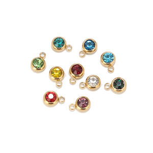Birthstone Charm Pendants Bracelet Jewelry Making-Findings Diy Necklace Stainless-Steel