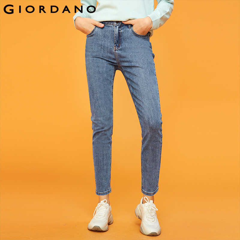 Giordano Women Denim Jeans Women Five Pockets Ankle Length Jeans Woman Fashion Denim Pants Zip Front Stretchy Fabric Feminina