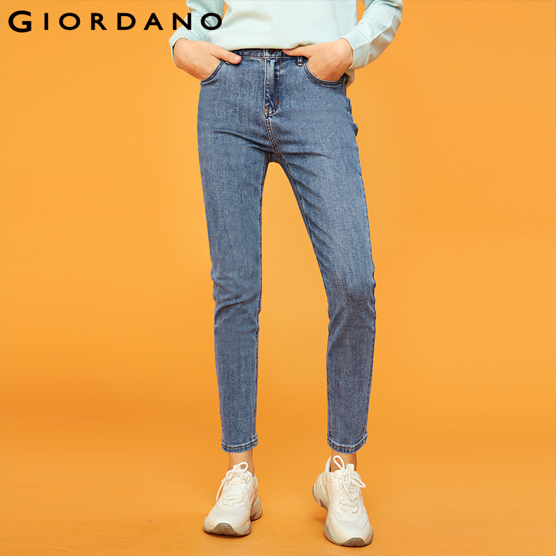 Giordano Women Denim Jeans Women Five Pockets Ankle Length Jeans Woman Fashion Denim Pants Zip Front Stretchy Fabric Feminina