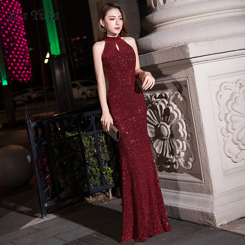 It's Yiiya Evening Dresses Burgundy Shining Sequins Halter Evening Gowns For Women Elegant Plus Size Long Formal Dress K105